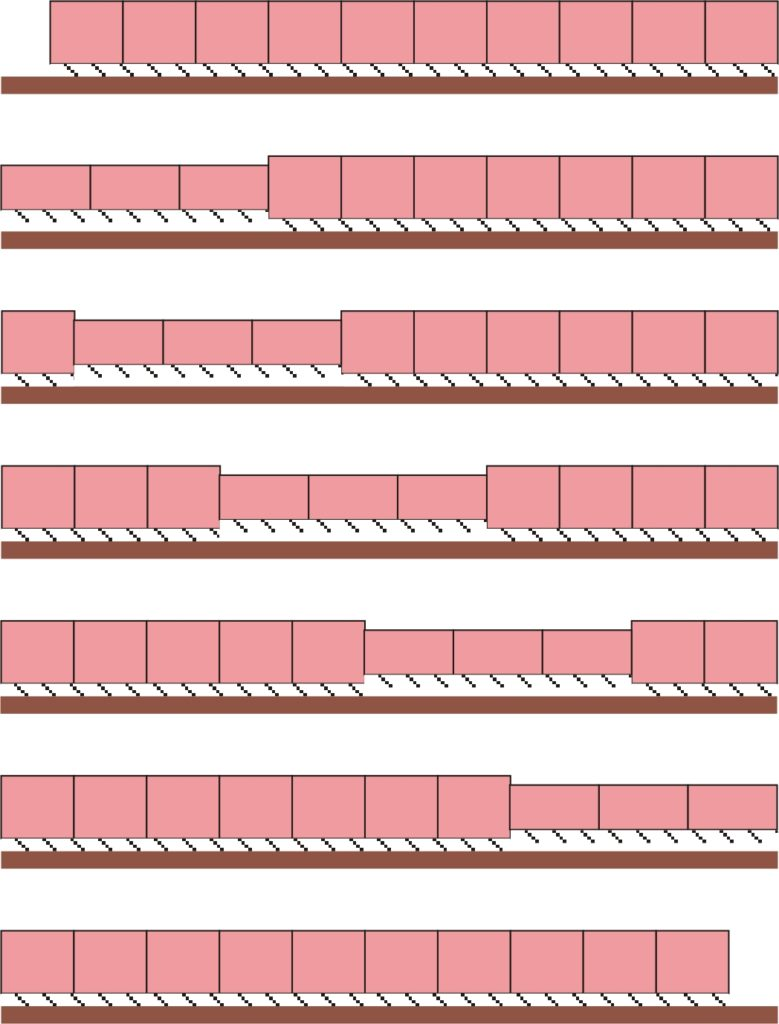 Diagram showing a series of squares representing segments of an earthworm's body, some smaller and some larger, to represent the pattern of movement.