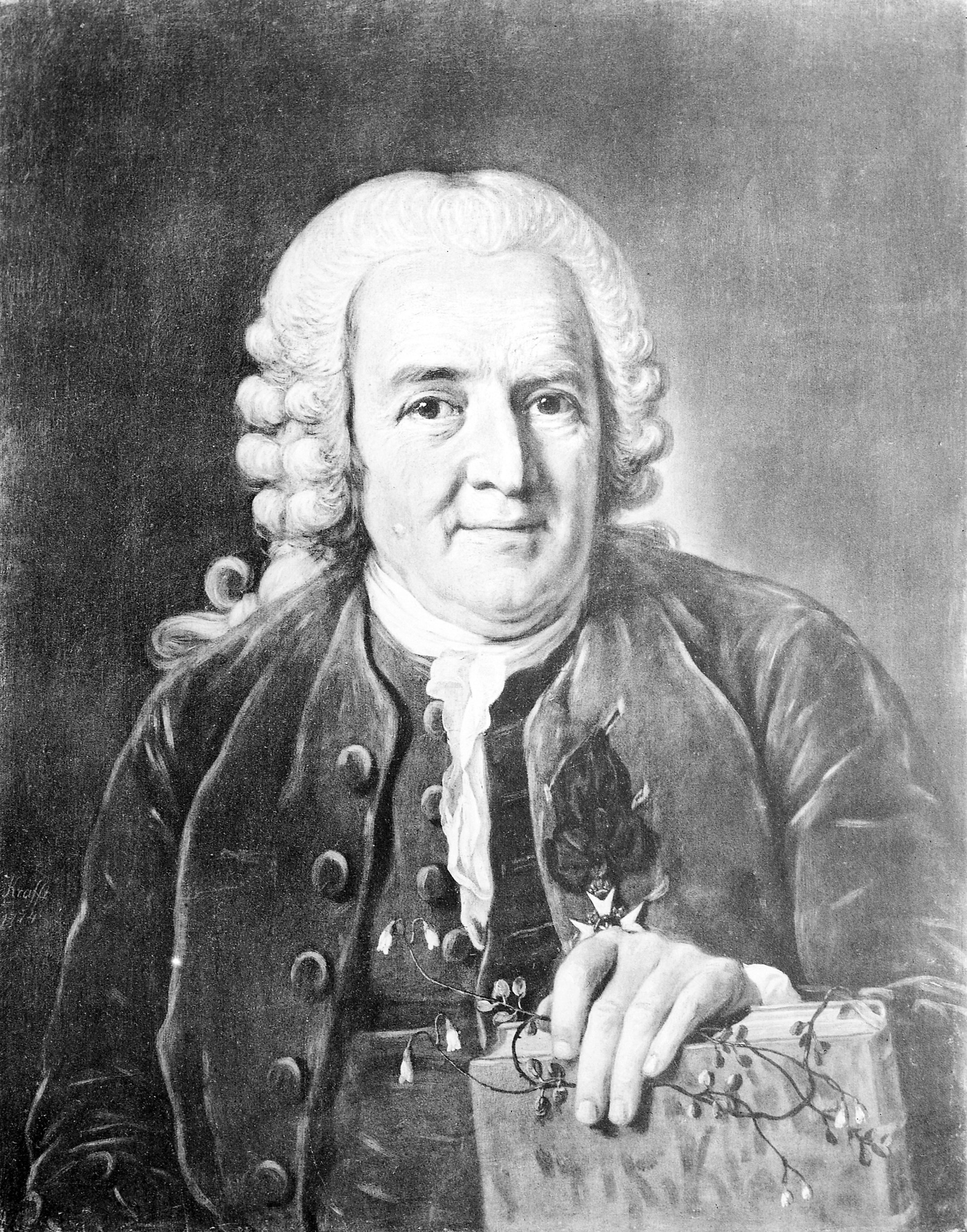Black and white portraits of Carl Linnaeus facing the artist. His left hand is propped on the top of an upright leather-bound book.