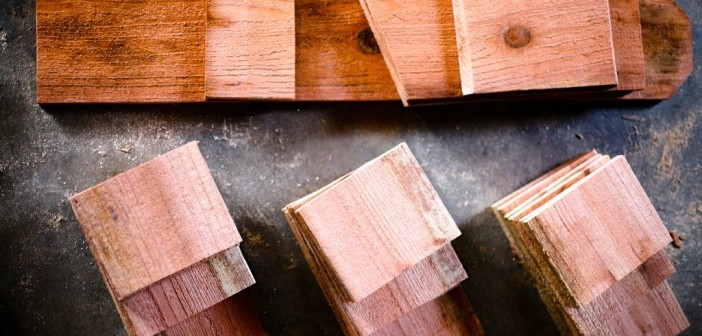 Image of cut-up pieces of wood to be used to build a birdhouse.