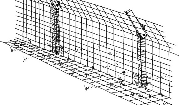 Illustration of a coyote fence.