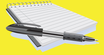 Illustration of a white notepad and black ballpoint pen laying on top of it.