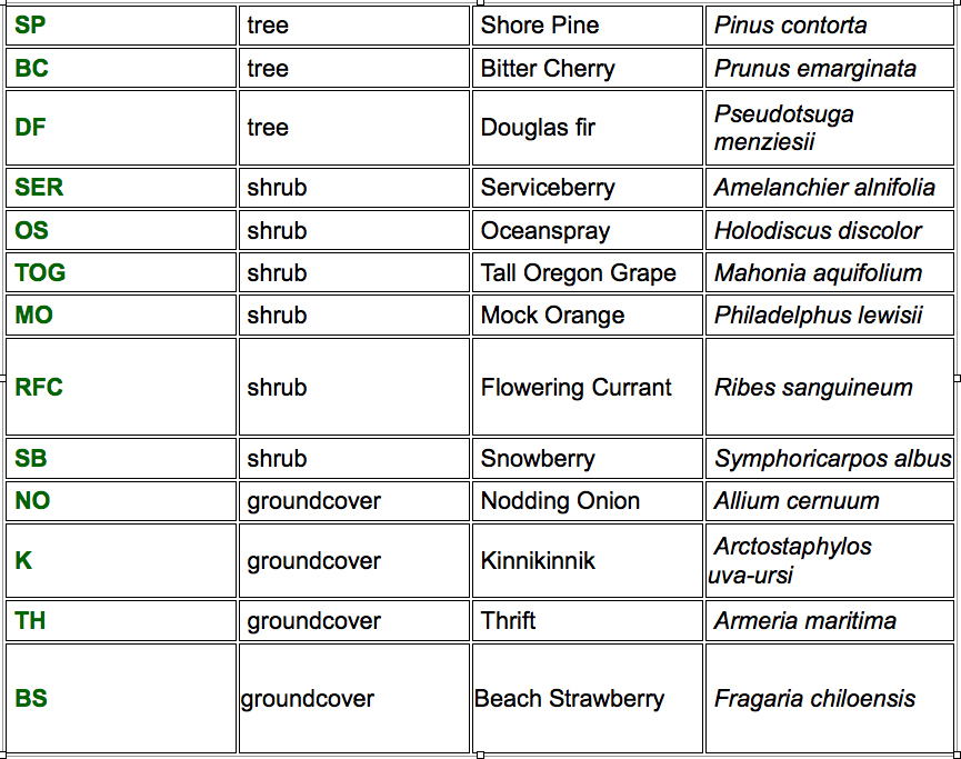 Sample landscape plant list for the Northwest U.S.