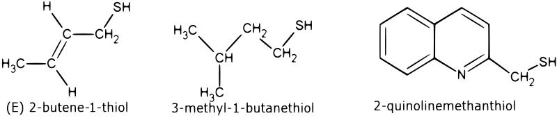diagram of chemical structure of a skunk musk.