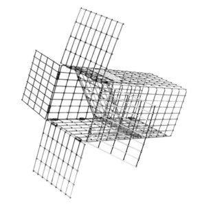 Product photo of a Tomahawk squirrel excluder funnel made of heavy wire mesh and formed into a rectangular shape.